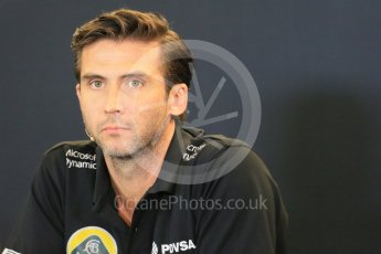 World © Octane Photographic Ltd. FIA Team Personnel Press Conference. Friday 23rd October 2015, F1 USA Grand Prix, Austin, Texas - Circuit of the Americas (COTA). Lotus F1 Team CEO – Matthew Carter. Digital Ref: 1462LB1D9809