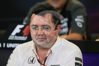 World © Octane Photographic Ltd. FIA Team Personnel Press Conference. Friday 23rd October 2015, F1 USA Grand Prix, Austin, Texas - Circuit of the Americas (COTA). McLaren Honda Racing Director – Eric Boullier Digital Ref: 1462LB1D9840