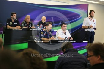 World © Octane Photographic Ltd. FIA Team Personnel Press Conference. Friday 23rd October 2015, F1 USA Grand Prix, Austin, Texas - Circuit of the Americas (COTA). McLaren Honda Racing Director – Eric Boullier, Lotus F1 Team CEO – Matthew Carter, Infiniti Red Bull Racing Team Principal – Christian Horner, Sahara Force India Team Principal – Vijay Mallya, Scuderia Toro Rosso – Franz Tost. Digital Ref: 1462LB5D3031