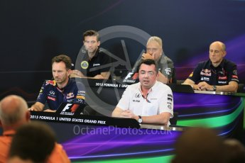 World © Octane Photographic Ltd. FIA Team Personnel Press Conference. Friday 23rd October 2015, F1 USA Grand Prix, Austin, Texas - Circuit of the Americas (COTA). McLaren Honda Racing Director – Eric Boullier, Lotus F1 Team CEO – Matthew Carter, Infiniti Red Bull Racing Team Principal – Christian Horner, Sahara Force India Team Principal – Vijay Mallya, Scuderia Toro Rosso – Franz Tost. Digital Ref: 1462LB5D3050