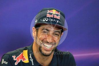 World © Octane Photographic Ltd. FIA Drivers' Press Conference. Thursday 22nd October 2015, F1 USA Grand Prix, Austin, Texas - Circuit of the Americas (COTA). Infiniti Red Bull Racing – Daniel Ricciardo. Digital Ref: 1458LB1D7893