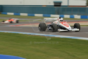 World © Octane Photographic Ltd. Saturday 2nd May 2015. Donington Historic Festival - Historic F1 Car demonstration laps. 1994 Toleman TG 184 (Ex-Ayrton Senna) and 1980 McLaren M29 (Ex John Watson and Alain Prost). Digital Ref : 1240CB1L5692