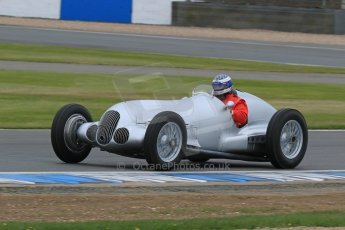 World © Octane Photographic Ltd. Saturday 2nd May 2015. Donington Historic Festival - Historic F1 Car demonstration laps. Replica Mercedes W125 (1937) – Kevin Wheatcroft. Digital Ref :1240LB7D0991