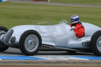 World © Octane Photographic Ltd. Saturday 2nd May 2015. Donington Historic Festival - Historic F1 Car demonstration laps. Replica Mercedes W125 (1937) – Kevin Wheatcroft. Digital Ref : 1240LB7D0996