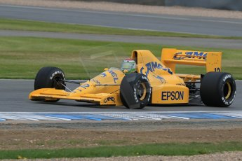 World © Octane Photographic Ltd. Saturday 2nd May 2015. Donington Historic Festival - Historic F1 Car demonstration laps. 1989 Lotus 101/3 - Steve Griffiths. (Ex-Satoru Nakajima). Digital Ref : 1240LB7D1025