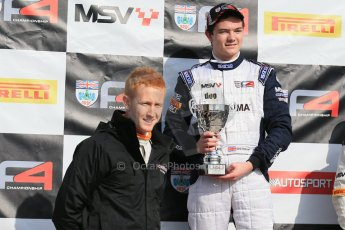 World © Octane Photographic Ltd. DUO BRDC Formula 4 Race 1 Podium, Oulton Park, UK, Saturday 4th April 2015. HHC Motorsport Will Palmer (1st). Digital Ref : 1214LB1D3678