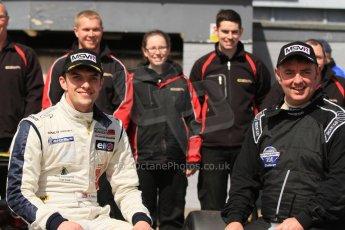 World © Octane Photographic Ltd. Saturday 25th April 2015, MSVR F3 Cup Race 1 parc ferme. Donington Park. Chris Dittmann Racing (CDR) – Kieran Vernon – Dallara F307 Mercedes HWA. Digital Ref: 1235CB7B1894