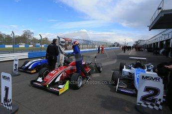 World © Octane Photographic Ltd. Saturday 25th April 2015, MSVR F3 Cup Race 1 parc ferme. Donington Park. Chris Dittmann Racing (CDR) – Kieran Vernon – Dallara F307 Mercedes HWA. Digital Ref: 1235LB1D4331