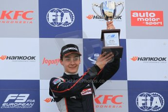 World © Octane Photographic Ltd. FIA European F3 Championship, Silverstone Race 2 overall podium, UK, Saturday 11th April 2015. Carlin – George Russell, Dallara F312 – Volkswagen. Digital Ref : 1223LW1L0616