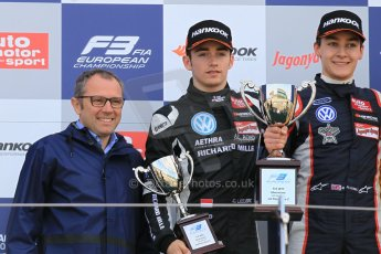 World © Octane Photographic Ltd. FIA European F3 Championship, Silverstone Race 2 overall podium, UK, Saturday 11th April 2015. Carlin – George Russell, Dallara F312 – Volkswagen, Van Amersfoort Racing – Charles Leclerc, Dallara F312 – Volkswagen and Stefano Deomencali - President of FIA Single Seater Commission. Digital Ref : 1223LW1L0681