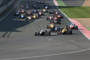 World © Octane Photographic Ltd. FIA European F3 Championship, Silverstone Race 3, UK, Sunday 12th April 2015. Van Amersfoort Racing – Charles Leclerc, Dallara F312 – Volkswagen leads the pack away from the start. Digital Ref : 1224LB1D8305