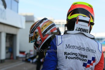 World © Octane Photographic Ltd. FIA European F3 Championship, Silverstone Race 3 parc ferme, UK, Sunday 12th April 2015. Van Amersfoort Racing – Charles Leclerc, Dallara F312 – Volkswagen and Prema Powerteam – Jake Dennis, Dallara F312 – Mercedes-Benz. Digital Ref : 1224LW1L0872
