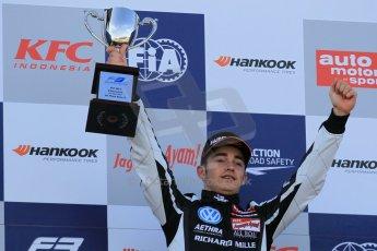 World © Octane Photographic Ltd. FIA European F3 Championship, Silverstone Race 3 overall podium, UK, Sunday 12th April 2015. Van Amersfoort Racing – Charles Leclerc, Dallara F312 – Volkswagen. Digital Ref : 1224LW1L0916