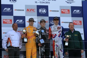 World © Octane Photographic Ltd. FIA European F3 Championship, Silverstone Race 3 overall podium, UK, Sunday 12th April 2015. Van Amersfoort Racing – Charles Leclerc, Dallara F312 – Volkswagen, Jagonya Ayam with Carlin – Antonia Giovinazzi, Dallara F312 – Volkswagen and Prema Powerteam – Jake Dennis, Dallara F312 – Mercedes-Benz. Digital Ref : 1224LW1L0950