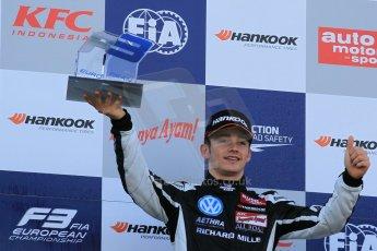 World © Octane Photographic Ltd. FIA European F3 Championship, Silverstone Race 3 rookie podium, UK, Sunday 12th April 2015. Van Amersfoort Racing – Charles Leclerc, Dallara F312 – Volkswagen. Digital Ref : 1224LW1L1033