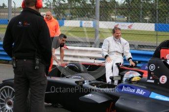 World © Octane Photographic Ltd. FIA Formula E testing – Donington Park 11th August 2015, Venturi VM200-FE-01. Venturi – Jacques Villeneuve stopped on track. Digital Ref : 1367LB1D4701