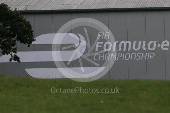 World © Octane Photographic Ltd. FIA Formula E logo on HQ building – Donington Park 11th August 2015. Digital Ref : 1367LB1D4778
