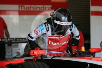 World © Octane Photographic Ltd. FIA Formula E testing – Donington Park 11th August 2015, Mahindra M2ELECTRO. Mahindra – Nick Heidfeld. Digital Ref : 1367LB5D2582