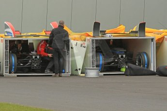 World © Octane Photographic Ltd. Saturday 2nd May 2015 Donington Park base. Cars packing for Monaco ePrix. Digital Ref : 1243CB1L5288
