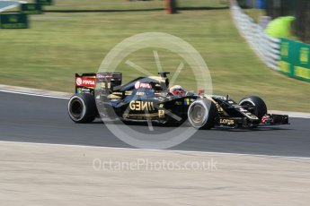 World © Octane Photographic Ltd. Lotus F1 Team E23 Hybrid – Romain Grosjean. Friday 24th July 2015, F1 Hungarian GP Practice 2, Hungaroring, Hungary. Digital Ref: 1348CB1L5452