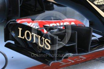 World © Octane Photographic Ltd. Lotus F1 Team E23 Hybridfront wing end plate. Saturday 25th July 2015, F1 Hungarian GP Practice 3, Hungaroring, Hungary. Digital Ref: 1352LB1D9787