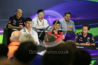 World © Octane Photographic Ltd. FIA Team Personnel Press Conference. Friday 24th July 2015, F1 Hungarian GP, Hungaroring, Hungary. Yasuhisa Arai – Honda Head of Motorsport, Paul Hembrey – Pirelli Motorsport Director, Christian Horner – Infiniti Red Bull Racing Team Principle, Graeme Lowdon - Chief Executive Officer of the Manor Formula One team, Franz Tost – Scuderia Toro Rosso Team Principle and Toto Wolff – Mercedes AMG Petronas Executive Director. Digital Ref: 1351LB5D0721
