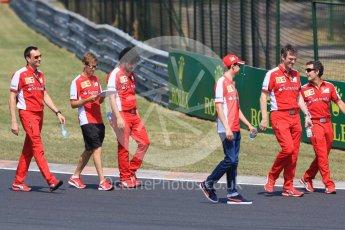 World © Octane Photographic Ltd. Scuderia Ferrari SF15-T– Sebastian Vettel and Esteban Gutierrez. Thursday 23rd July 2015, F1 Hungarian GP track walk, Hungaroring, Hungary. Digital Ref: 1343CB7D7825