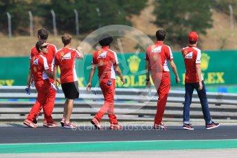 World © Octane Photographic Ltd. Scuderia Ferrari SF15-T– Sebastian Vettel and Esteban Gutierrez. Thursday 23rd July 2015, F1 Hungarian GP track walk, Hungaroring, Hungary. Digital Ref: 1343CB7D7840