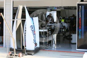 World © Octane Photographic Ltd. Williams Martini Racing FW37. Thursday 23rd July 2015, F1 Hungarian GP Pitlane, Hungaroring, Hungary. Digital Ref: 1343LB5D0028