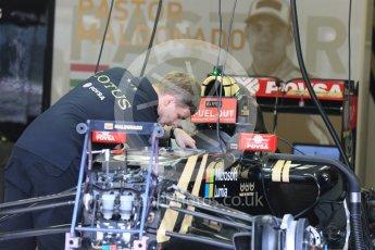 World © Octane Photographic Ltd. Lotus F1 Team E23 Hybrid – Pastor Maldonado. Thursday 23rd July 2015, F1 Hungarian GP Pitlane, Hungaroring, Hungary. Digital Ref: 1343LB5D0111