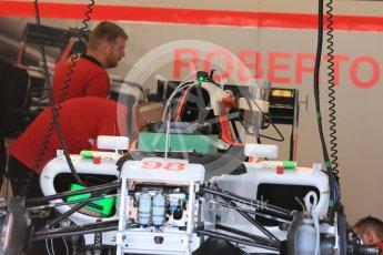 World © Octane Photographic Ltd. Manor Marussia F1 Team MR03B – Roberto Merhi. Thursday 23rd July 2015, F1 Hungarian GP Pitlane, Hungaroring, Hungary. Digital Ref: 1343LB5D0150