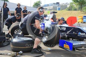 World © Octane Photographic Ltd. Friday 24th July 2015. Daiko Team Lazarus pitstop practice. GP2 Practice Session – Hungaroring, Hungary. Digital Ref. : 1347CB1L4648
