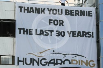 World © Octane Photographic Ltd. Saturday 25th July 2015. Thank you Bernie for the last 30 years. GP2 Race 1 – Hungaroring, Hungary. Digital Ref. : 1354CB1L6601