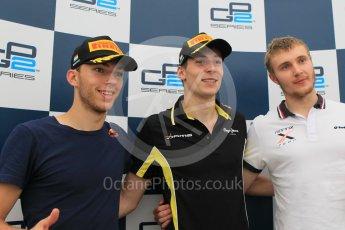 World © Octane Photographic Ltd. Saturday 25th July 2015. DAMS – Alex Lynn (1st), and Pierre Gasly (2nd) and Rapax – Sergey Sirotkin (provisional 3rd). GP2 Race 1 – Hungaroring, Hungary. Digital Ref. : 1354CB1L6862