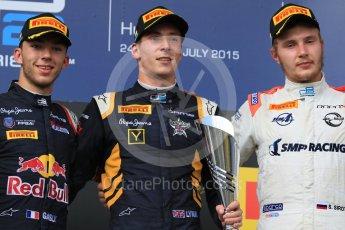 World © Octane Photographic Ltd. Saturday 25th July 2015. DAMS – Alex Lynn (1st), and Pierre Gasly (2nd) and Rapax – Sergey Sirotkin (provisional 3rd). GP2 Race 1 podium – Hungaroring, Hungary. Digital Ref. : 1354CB7D8998