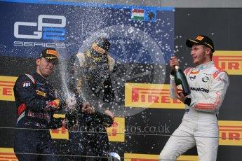 World © Octane Photographic Ltd. Saturday 25th July 2015. DAMS – Alex Lynn (1st), and Pierre Gasly (2nd) and Rapax – Sergey Sirotkin (provisional 3rd). GP2 Race 1 podium – Hungaroring, Hungary. Digital Ref. : 1354LB1D1623