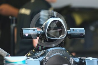 World © Octane Photographic Ltd. Mercedes AMG Petronas F1 W06 Hybrid intake with practice sensors. Thursday 3rd September 2015, F1 Italian GP Paddock, Monza, Italy. Digital Ref: 1400LB1D8114