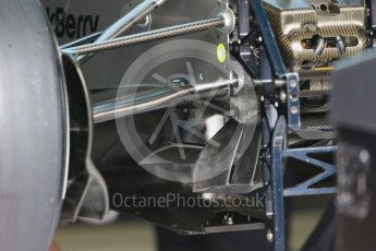 World © Octane Photographic Ltd. Mercedes AMG Petronas F1 W06 Hybrid front suspension and brake cooling. Thursday 3rd September 2015, F1 Italian GP Paddock, Monza, Italy. Digital Ref: 1400LB1D8120