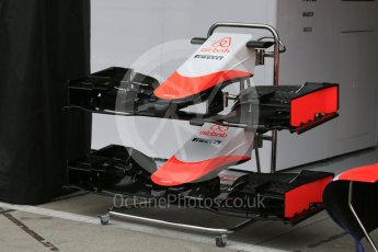 World © Octane Photographic Ltd. Manor Marussia F1 Team MR03B nose and front wing. Thursday 3rd September 2015, F1 Italian GP Paddock, Monza, Italy. Digital Ref: 1400LB5D8096