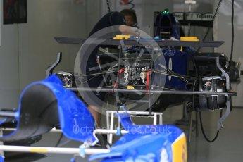 World © Octane Photographic Ltd. Sauber F1 Team C34-Ferrari front suspension – Marcus Ericsson. Thursday 3rd September 2015, F1 Italian GP Paddock, Monza, Italy. Digital Ref: 1400LB5D8102