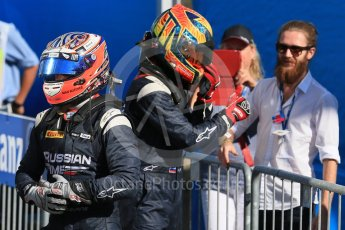 World © Octane Photographic Ltd. Saturday 5th September 2015. Russian Time – Mitch Evans and Artem Markelov. GP2 Race 1, Monza, Italy. Digital Ref. : 1413LB1D1771