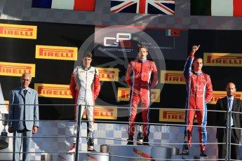 World © Octane Photographic Ltd. Saturday 5th September 2015. Arden International – Emil Bernstorff (1st), ART Grand Prix – Esteban Ocon (2nd) and Arden International – Kevin Ceccon (3rd). GP3 Race 1 - Monza, Italy. Digital Ref. : 1414LB1D1902