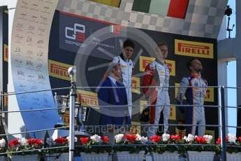 World © Octane Photographic Ltd. Sunday 6th September 2015. ART Grand Prix – Marvin Kirchhofer (1st) and Esteban Ocon (2nd) and Trident – Luca Ghiotto (3rd). GP3 Race 2 - Monza, Italy. Digital Ref. : 1415LB1D2221