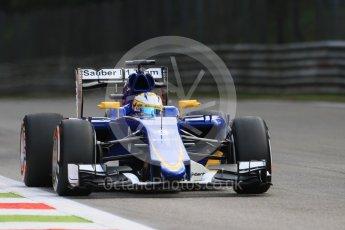 World © Octane Photographic Ltd. Sauber F1 Team C34-Ferrari – Marcus Ericsson. Friday 4th September 2015, F1 Italian GP Practice 1, Monza, Italy. Digital Ref: 1405LB7D5801