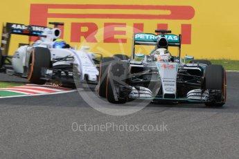 World © Octane Photographic Ltd. Mercedes AMG Petronas F1 W06 Hybrid – Lewis Hamilton and Williams Martini Racing FW37 – Felipe Massa. Saturday 26th September 2015, F1 Japanese Grand Prix, Practice 3, Suzuka. Digital Ref:
