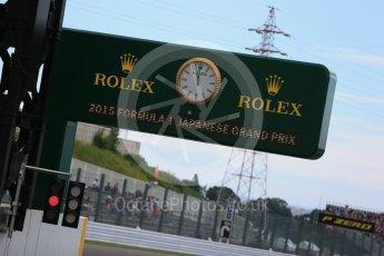 World © Octane Photographic Ltd. Rolex F1 official clock. Saturday 26th September 2015, F1 Japanese Grand Prix, Practice 3, Suzuka. Digital Ref:
