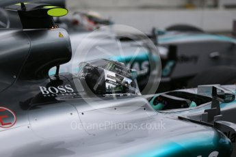 World © Octane Photographic Ltd. Mercedes AMG Petronas F1 W06 Hybrid – Nico Rosberg and Lewis Hamilton. Saturday 26th September 2015, F1 Japanese Grand Prix, Practice 3, Suzuka. Digital Ref: