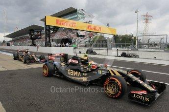 World © Octane Photographic Ltd. Lotus F1 Team E23 Hybrid – Pastor Maldonado and Romain Grosjean. Saturday 26th September 2015, F1 Japanese Grand Prix, Practice 3, Suzuka. Digital Ref: