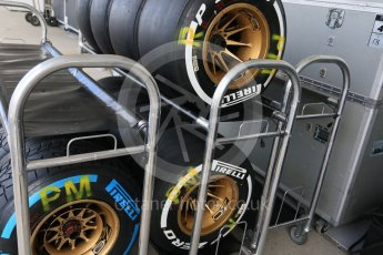 World © Octane Photographic Ltd. Lotus F1 Team E23 Hybrid wheels and tyres ready for Practice 3. Saturday 26th September 2015, F1 Japanese Grand Prix, Paddock, Suzuka. Digital Ref: 1445CB7D6350