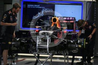 World © Octane Photographic Ltd. Infiniti Red Bull Racing RB11 of Daniil Kvyat fully rebuilt. Sunday 27th September 2015, F1 Japanese Grand Prix, Setup, Suzuka. Digital Ref: 1448LB1D3792